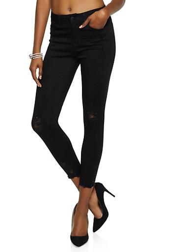 WAX Distressed Raw Hem Push Up Skinny Jeans,BLACK,large