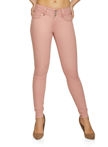 3 Button Twill Skinny Pants,MAUVE,large