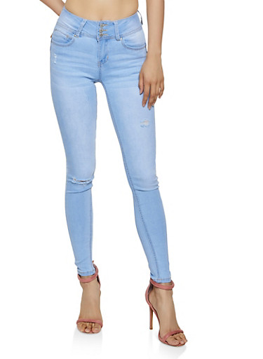 WAX 3 Button Frayed Skinny Jeans,LIGHT WASH,large