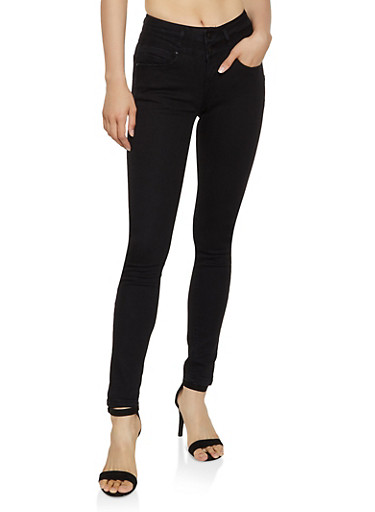 WAX 3 Button Stretch Skinny Jeans,BLACK,large