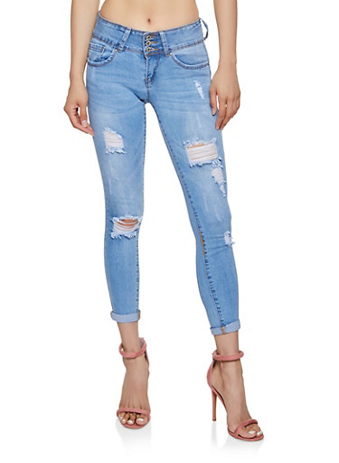 WAX Ripped Triple Button Skinny Jeans,LIGHT WASH,large