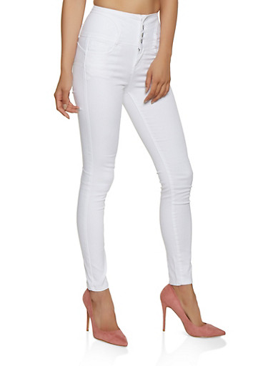 WAX High Waisted 4 Button Skinny Jeans,WHITE,large