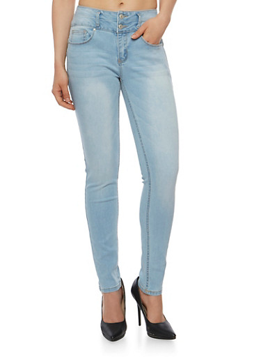 WAX Two Button Push Up Skinny Jeans,LIGHT WASH,large