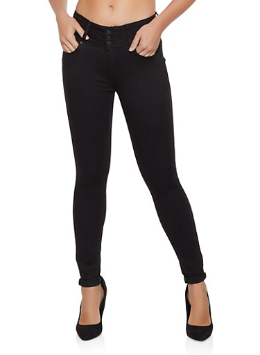 WAX 3 Button Rolled Cuff Jeans,BLACK,large