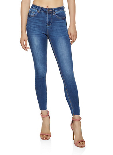 WAX Raw Hem Whiskered Skinny Jeans,MEDIUM WASH,large