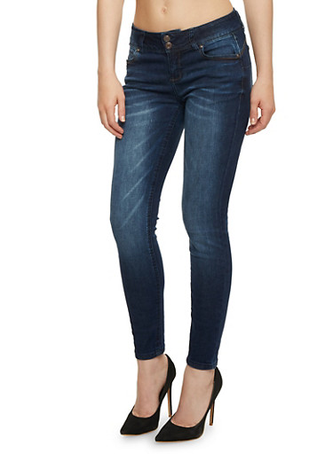 WAX Skinny Push Up Jeans,DARK WASH,large