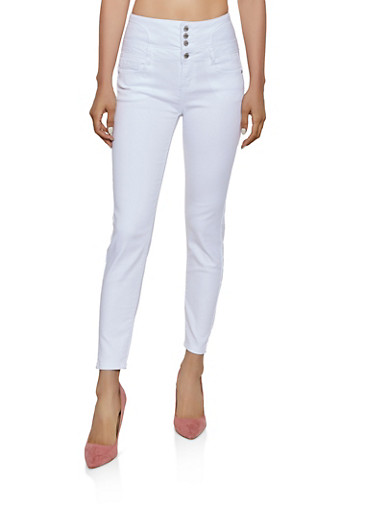 WAX 4 Button Lace Up Back Jeans,WHITE,large