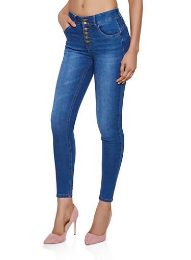 WAX 6 Button Push Up Jeans,MEDIUM WASH,large