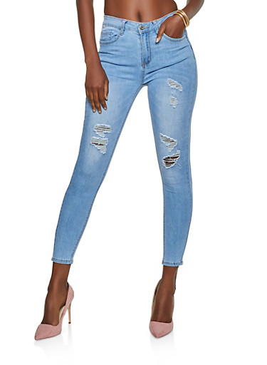 WAX Distressed Whisker Wash Push Up Jeans,LIGHT WASH,large