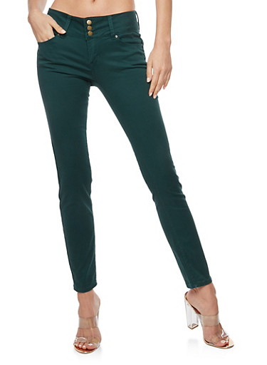 WAX Colored 3 Button Push Up Skinny Jeans,HUNTER,large