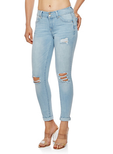 WAX Roll Cuff Distressed Push Up Jeans,LIGHT WASH,large