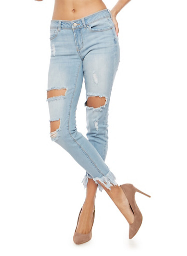 WAX Ripped Frayed Hem Push Up Jeans,LIGHT WASH,large