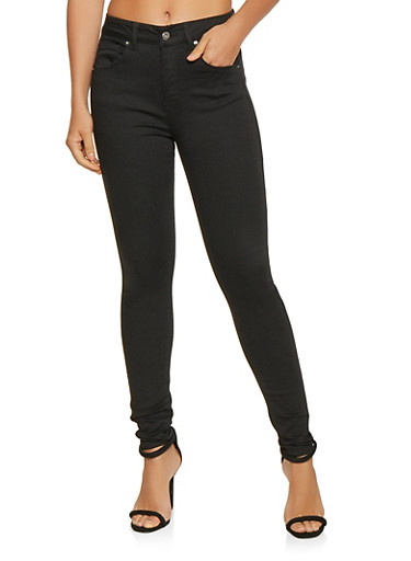 WAX High Waisted Push Up Jeans,BLACK,large