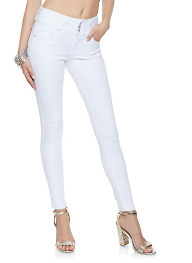 WAX 3 Button Push Up Jeans,WHITE,large