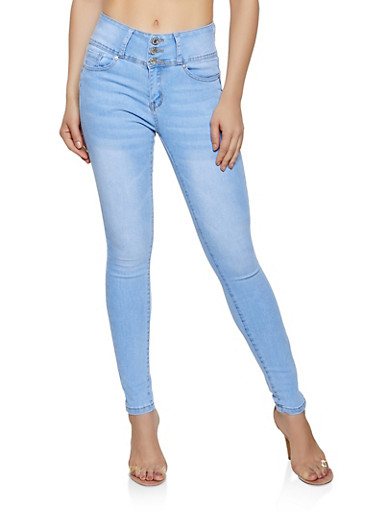 WAX Whisker Wash Push Up Skinny Jeans,LIGHT WASH,large