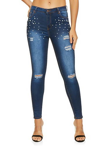 Distressed Faux Pearl Studded Skinny Jeans,DARK WASH,large
