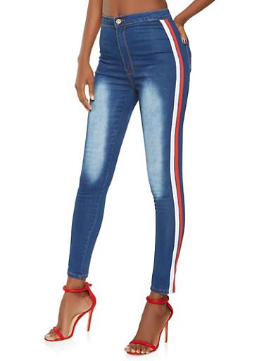 High Waisted Ribbon Trim Skinny Jeans,DARK WASH,large