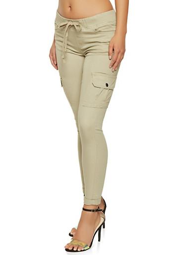 Denim Cargo Pants,KHAKI,large