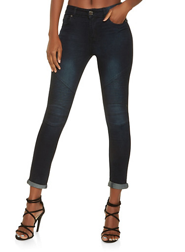 Skinny Moto Jeans,BLACK,large