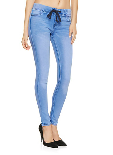 Pull On Skinny Jeans,BLUE,large