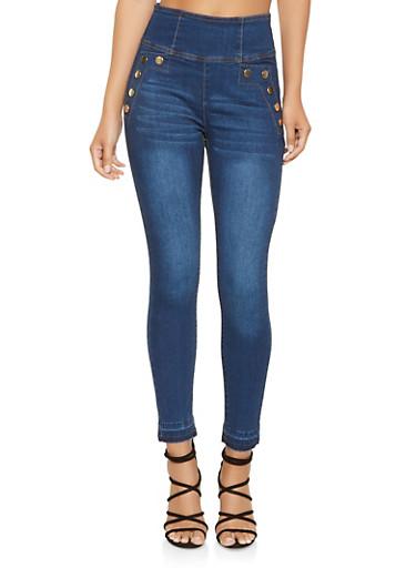 High Waisted Zip Back Skinny Jeans,DARK WASH,large