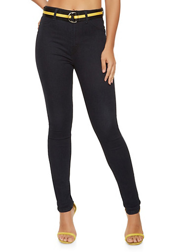 Belted High Waisted Skinny Jeans,BLACK,large