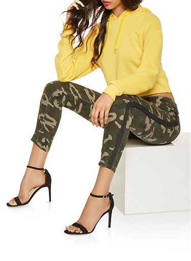 Side Tape Camo Jeans,GREEN,large