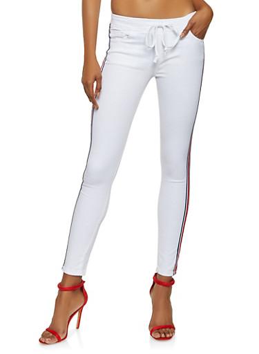 Side Stripe Tape Jeans,WHITE,large