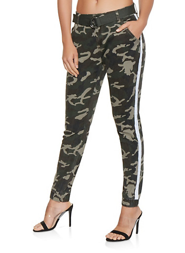 Side Stripe Belted Camo Joggers,WHITE,large