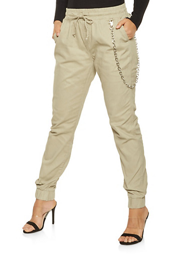 Chain Detail Joggers - 3074072291107