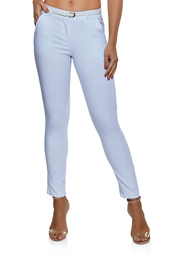 Belted Stretch Skinny Pants,WHITE,large