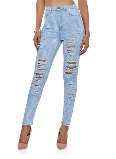High Waisted Destruction Jeans,WHITE,large