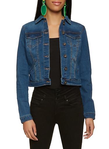 Basic Button Front Jean Jacket,MEDIUM WASH,large