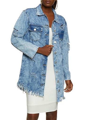 Long Slashed Denim Jacket,LIGHT WASH,large