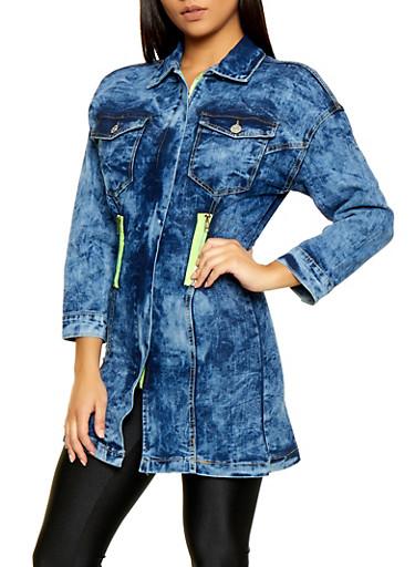 Contrast Zipper Long Denim Jacket,BLUE,large