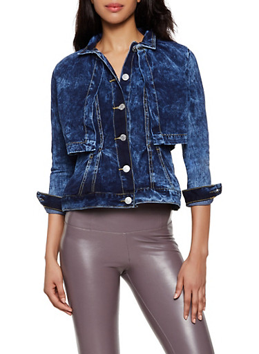 Layered Jean Jacket,BLUE,large