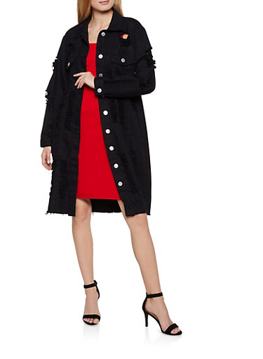 Destroyed Denim Trench Coat,BLACK,large