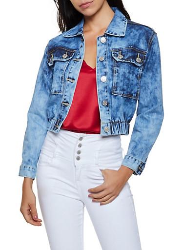 Elastic Hem Denim Jacket,BLUE,large