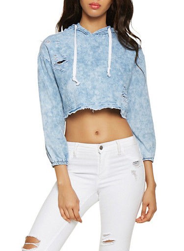Hooded Chambray Crop Top,LIGHT WASH,large