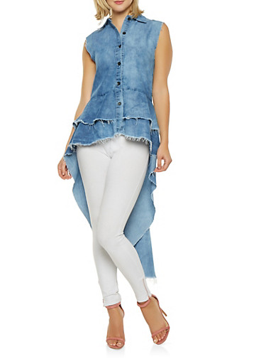 Tiered High Low Chambray Shirt,RINSE,large