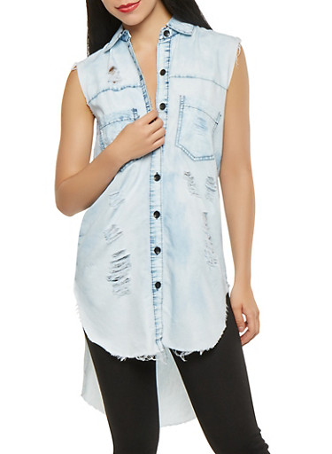 Distressed Chambray High Low Shirt,RINSE,large