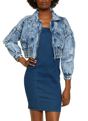 Destroyed Cropped Hem Denim Jacket,BLUE,large