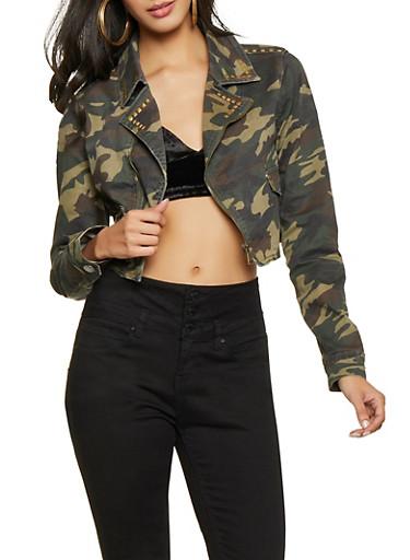 VIP Cropped Camo Denim Jacket,OLIVE,large