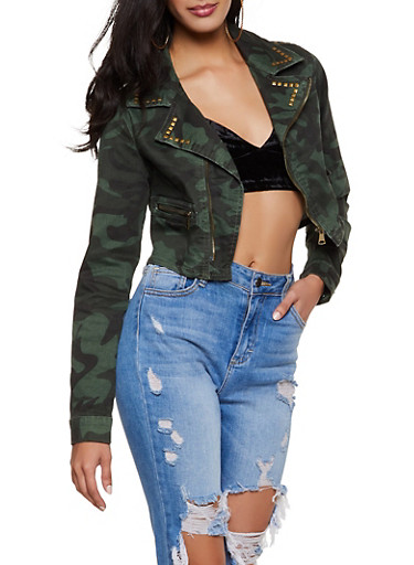 VIP Cropped Camo Jean Jacket,OLIVE,large