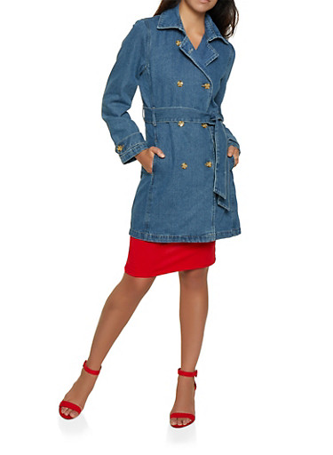Highway Denim Trench Coat,MEDIUM WASH,large