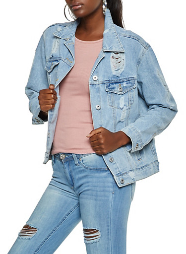 Highway Destroyed Jean Jacket,LIGHT WASH,large