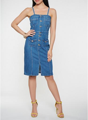 Denim Button Front Dress,MEDIUM WASH,large