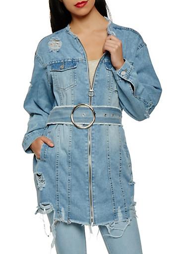Distressed Zip Front Belted Denim Jacket,LIGHT WASH,large