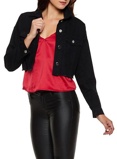 Highway Frayed Denim Jacket,BLACK,large