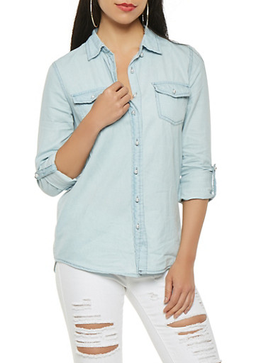 Faux Pearl Button Front Chambray Top,LIGHT WASH,large